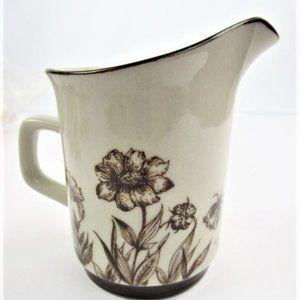 Vintage Floral Stoneware Brown and Cream Creamer